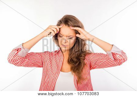 Tired Young Woman Suffering From Headache Holding Tablets