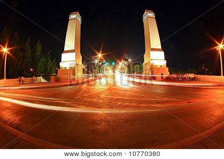 Light Trail At Rama 1 Steel Bridge At Bangkok Harbor In Fish Eye
