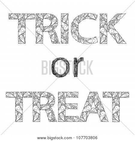 trick or treat happy hand drawn halloween postcard with spooks isolated on a white background