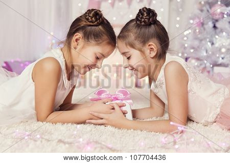 Children Girls Open Present Gift Box, Two Kids Celebrate Pink Birthday