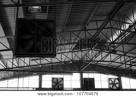 Black And White Old Factory Fan