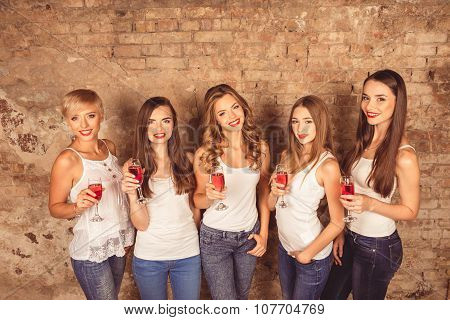 Cute Young Women Wearing Dress Code Celebrating With Sparkling Wine