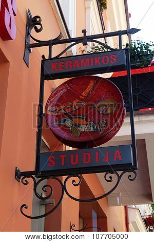 Ceramics Shop Sign On The Street Of Old Town, Vilnius, Lithuania.