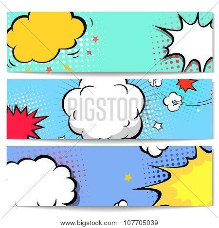 Set of comics boom backgrounds,