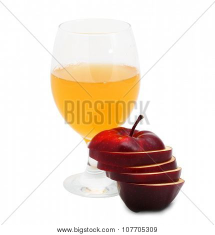 Dark red apple with juice isolated on white