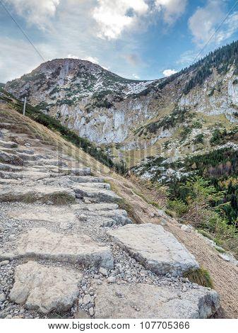 Alpine touristic trail in High Tatra, Poland