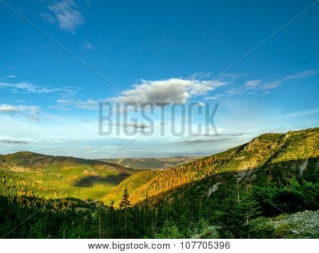 Beautiful view of valleys and hills covered with spruce and larch trees as seen from the trail in the Tatra mountains, Poland
