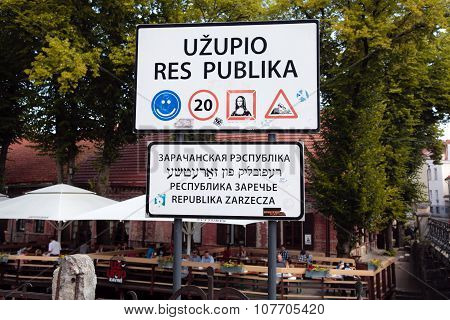Funny Road Sign On Republic Uzupis In Old Town, Vilnius, Lithuania