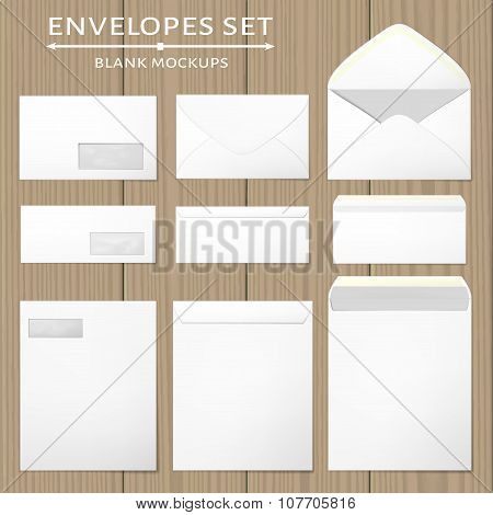 Three white envelopes set.