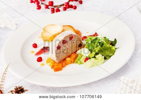 Foie gras pate on Christmas table