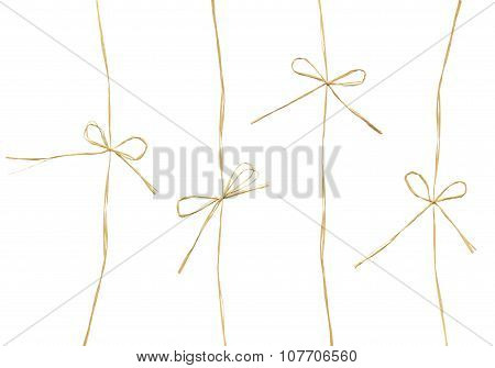 Set of ropes and bows. Rustic style decor