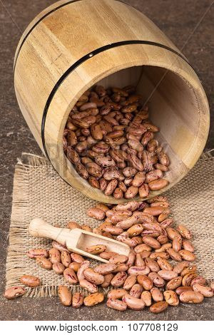 Wooden Barrel With Beans