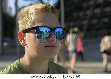 Young Boy Wearing Trendy Sunglasses