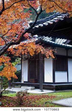 Colorful Autumn Foliage Framing A Japanese Temple Building