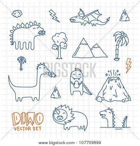 Dino navy ink doodles cartoon vector set