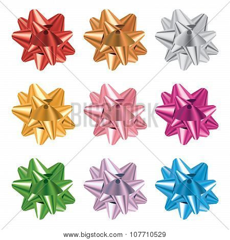 Set Of Colorful Gift Bows Illustration