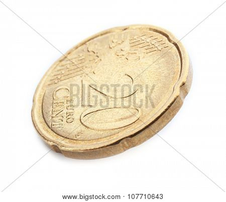 Twenty cent coin isolated on white background