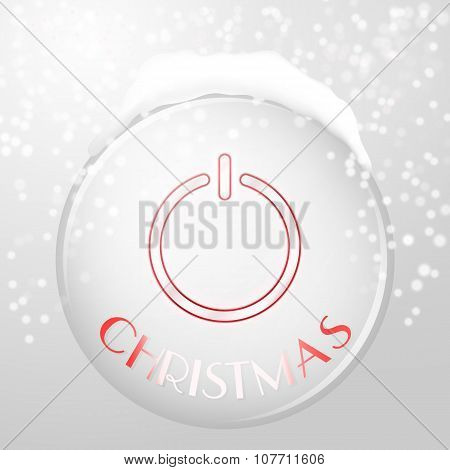Christmas power button on silver background with reflection