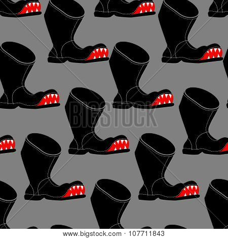 Broken Boot Seamless Pattern. Toothy Old Shoes With Hole Background. Shoe Fabric Texture.