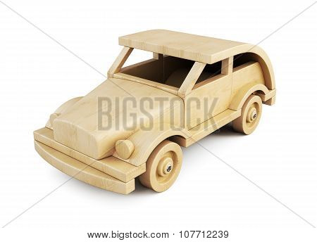 Wooden Toy Car Isolated On White Background. 3D.