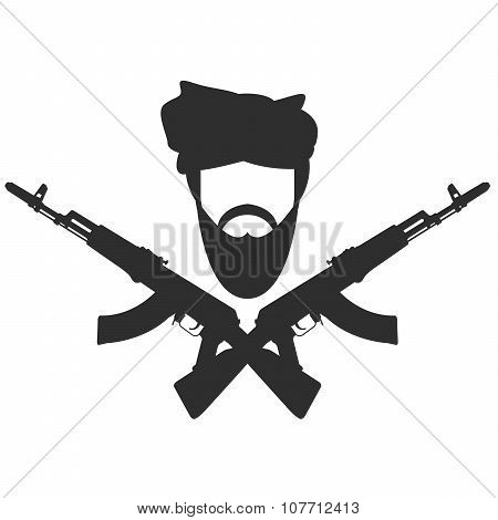 Man in turban two crossed AK-47 terroristm symbol