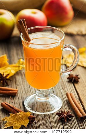 Traditional homemade hot apple cider thanksgiving winter celebration beverage with spices. Warm heal
