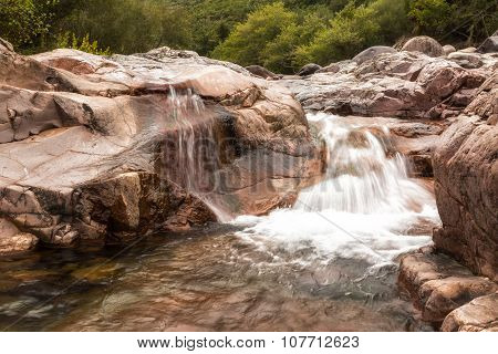 Waterfall In Fango Valley At Manso In Corsica