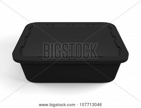 Black Plastic Packaging For Food Products. 3D.