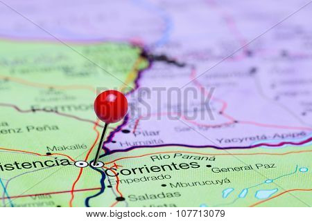 Corrientes pinned on a map of Argentina
