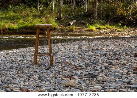 Stool on a riverbed