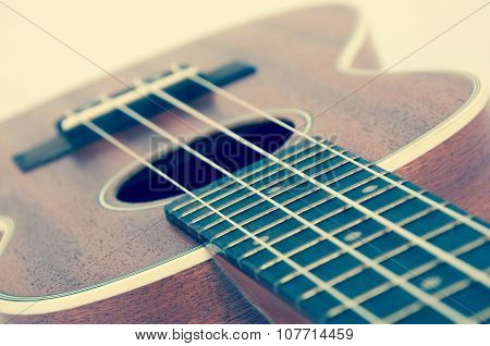 fragment of acoustic guitar. Processing in vintage style