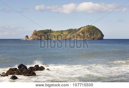 Azores Coastline Landscape With Volcanic Island. Ilheu Da Vila. Portugal