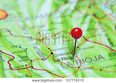 La Rioja pinned on a map of Argentina