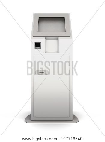 Front View Information Terminal Isolated On White Background. 3D.