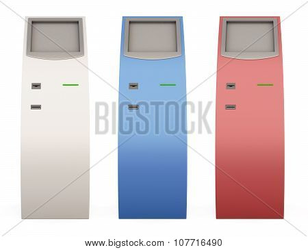 Three Payment Terminals Of Different Color For Your Design. 3D.