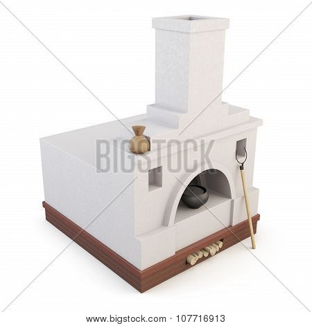 Russian Oven Isolated On White Background. 3D.