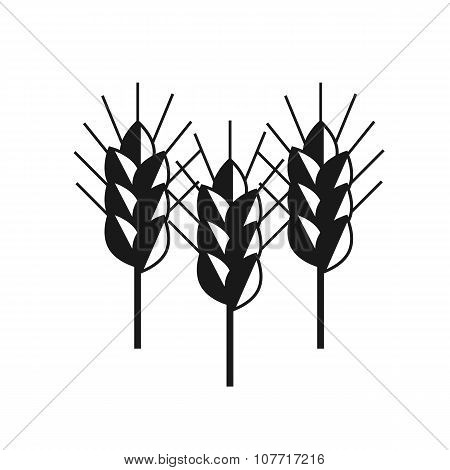 Spike Wheat Vector Black Icon Set