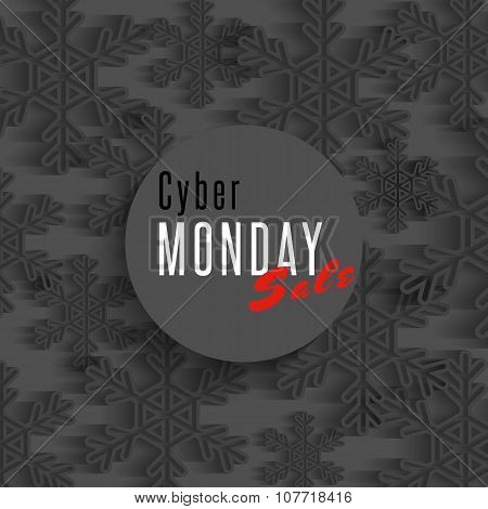 Cyber Monday Sale Poster, Winter Offer Advertising Marketing Banner, Dark Snowflakes Flyer Shop Back