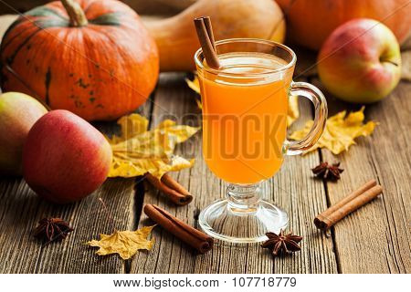 Hot apple cider healthy traditional winter christmas or thanksgiving holiday beverage. Sweet organic