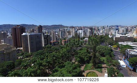 BELO HORIZONTE, BRAZIL - CIRCA OCTOBER, 2015: Aerial view of Liberty Square in Belo Horizonte, Minas Gerais, Brazil.