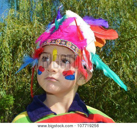 Cute Child Dressed As Injun