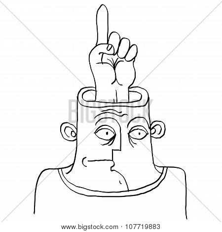 Idea Concept. Hand-drawn Illustration Of A Person Thinking, Finger Pointing Up At Some Space. Smart