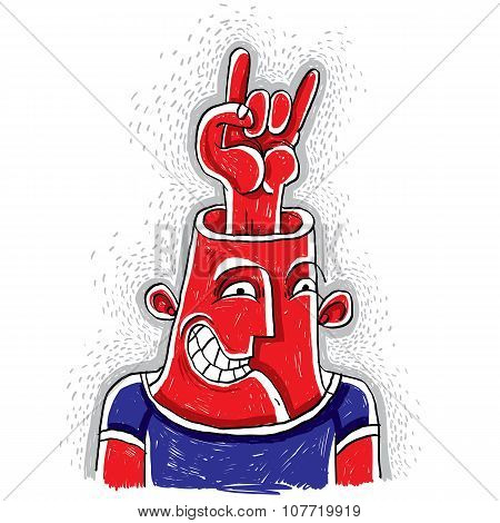 Vector Illustration Of An Excited Rocker With Rock On Symbol Showing From His Head. Hand Drawn