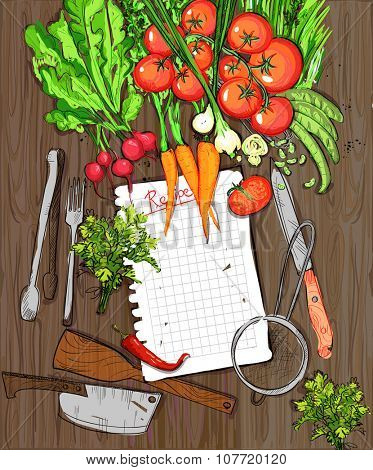Healthy organic vegetables and kitchen utensil on a wooden table background with empty recipe list.