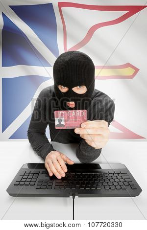 Hacker With Canadian Province Flag On Background Holding Id Card In Hand - Newfoundland And Labrador