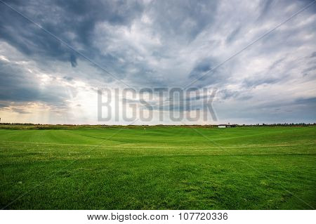 Sunset Over The Golf Course, Luxury Green Field At The Golf Club