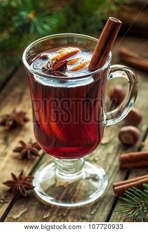 Mulled wine traditional winter hot alcohol spiced holiday beverage recipe. Homemade thanksgiving cel