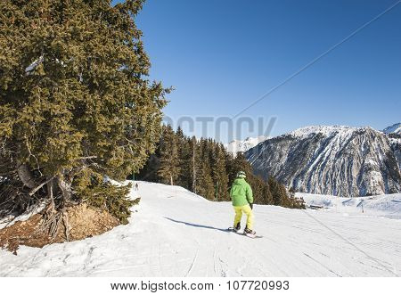 Skiers On Piste Through Trees