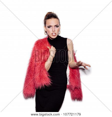 Fashion Girl Wearing Black Dress And Pink Fur Coat