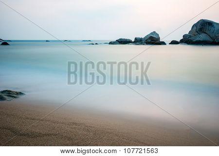 Beautiful boulder in the ocean